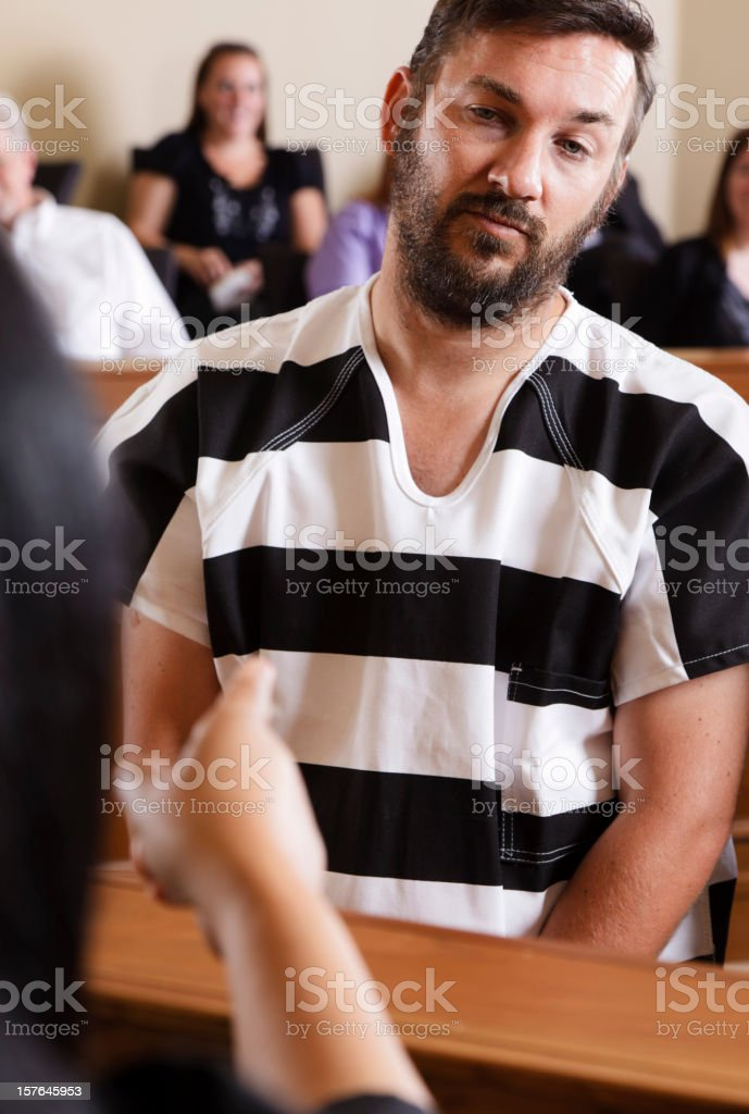 Prisoner in Court royalty-free stock photo