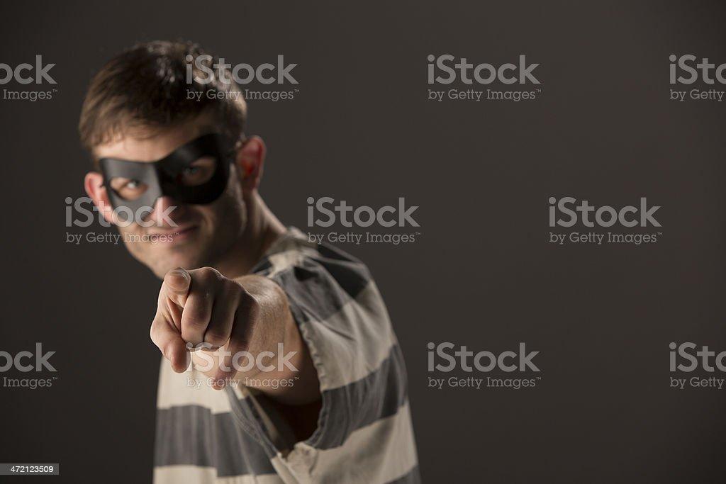 Prisoner Pointing royalty-free stock photo