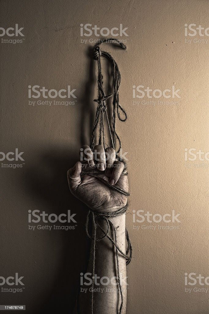 Prisoner tortured. stock photo