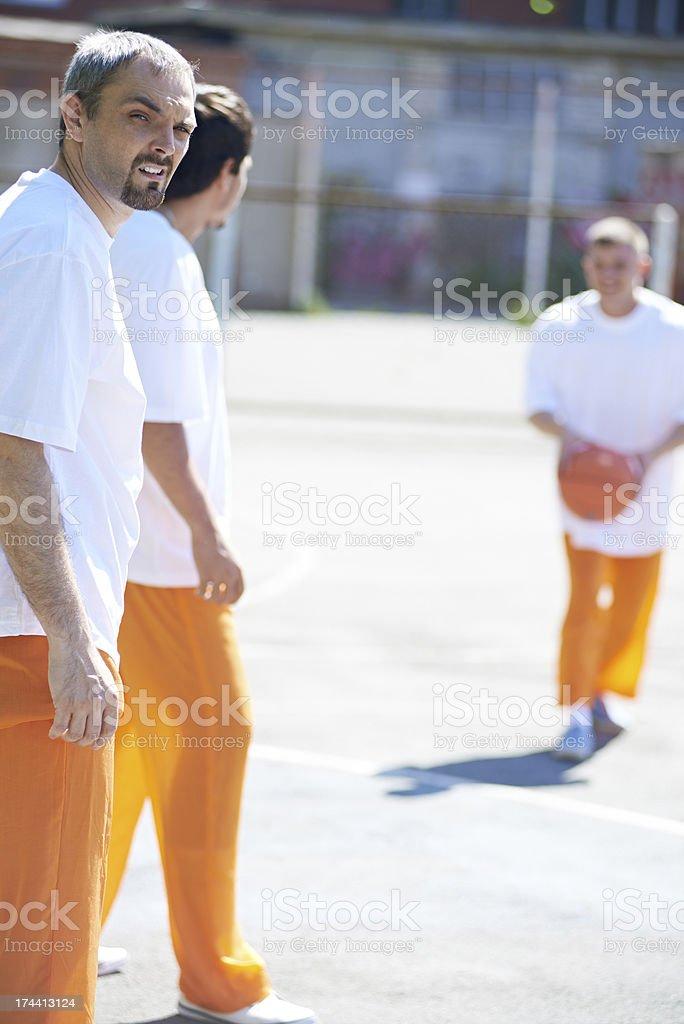 Prisoners having walk stock photo