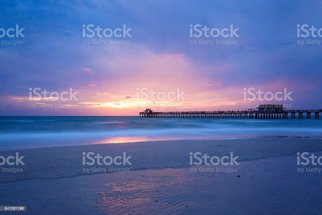 Pristine and idyllic beach at sunset, Naples, Florida, USA stock photo