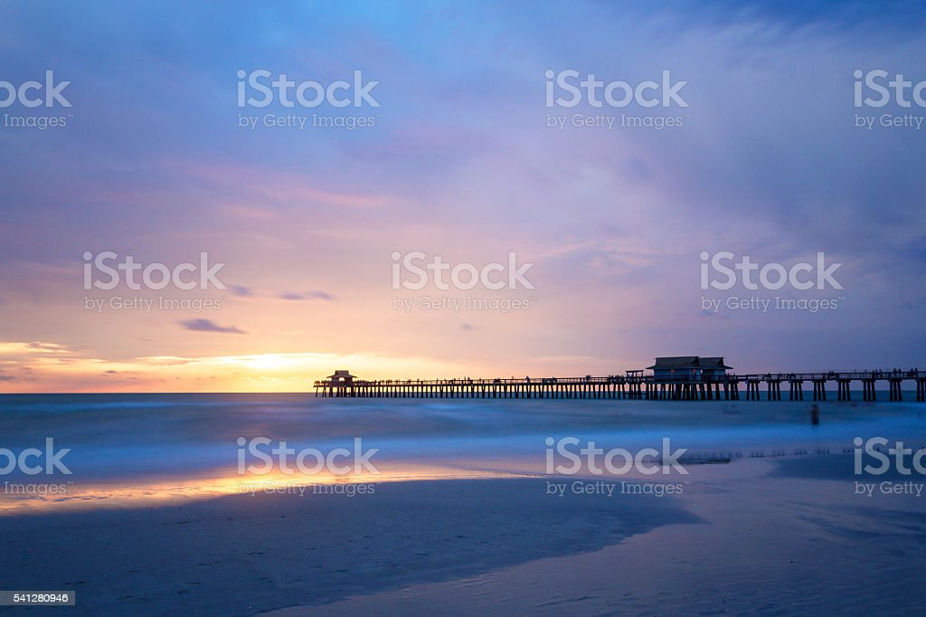 Pristine and idyllic beach at sunset,Naples, Florida, USA stock photo