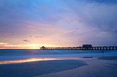 Pristine and idyllic beach at sunset,Naples, Florida, USA