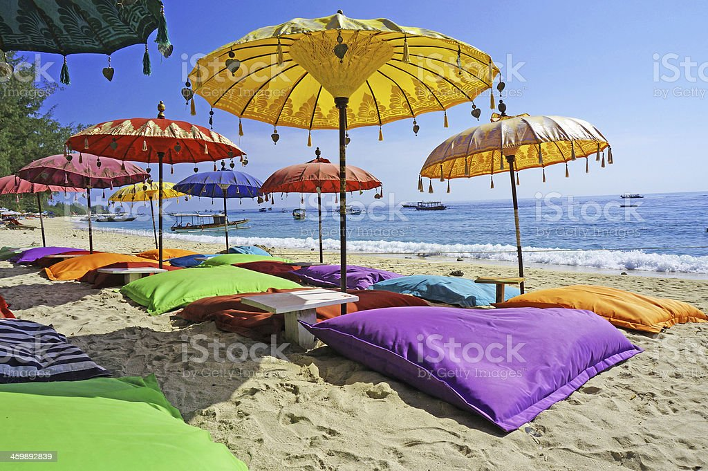 Pristine beach bathed by the Bali Sea stock photo