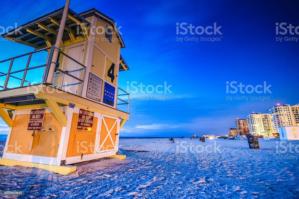 Pristine shoreline of Clearwater Beach, Florida stock photo