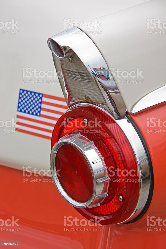 Pristine tail fin and lights of a vintage American car stock photo