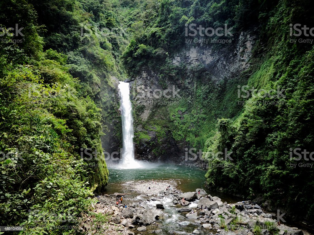 Pristine waterfall in Banaue, Northern Luzon, the Philippines stock photo