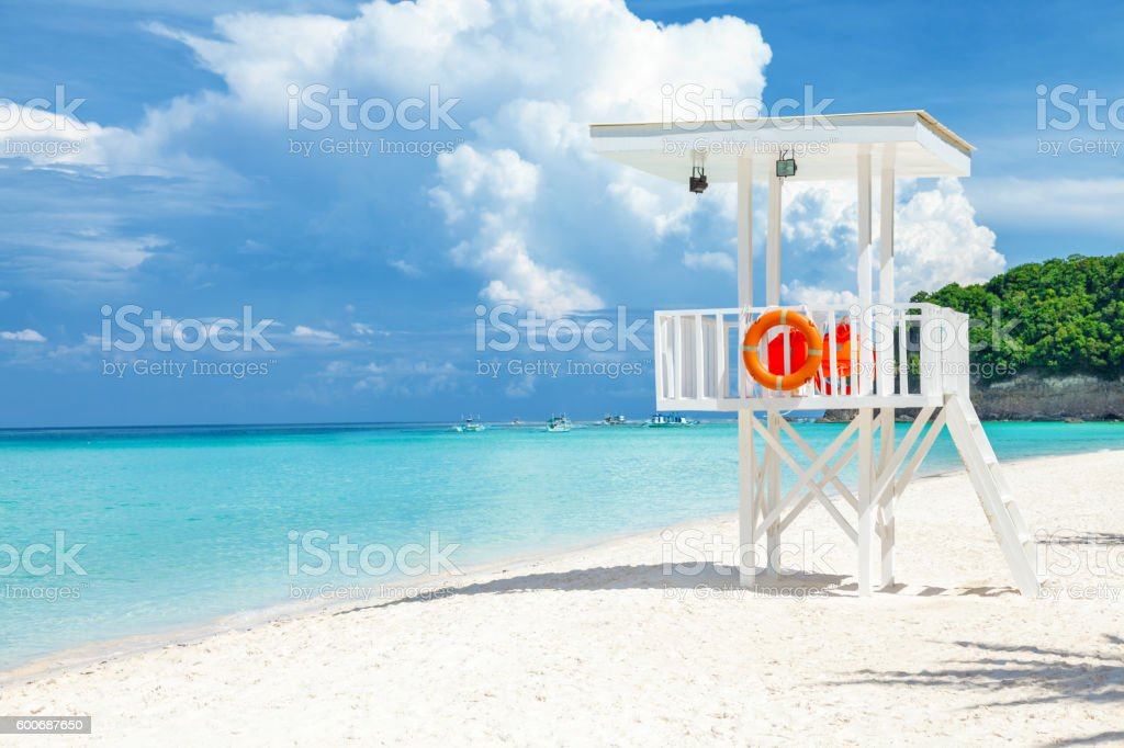 Pristine waters and white sand in Boracay stock photo