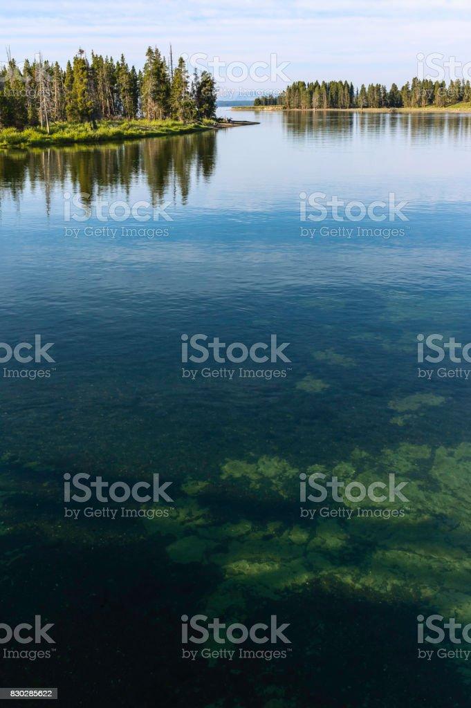 Pristine waters of Yellowstone Lake in summer, Wyoming, USA. stock photo