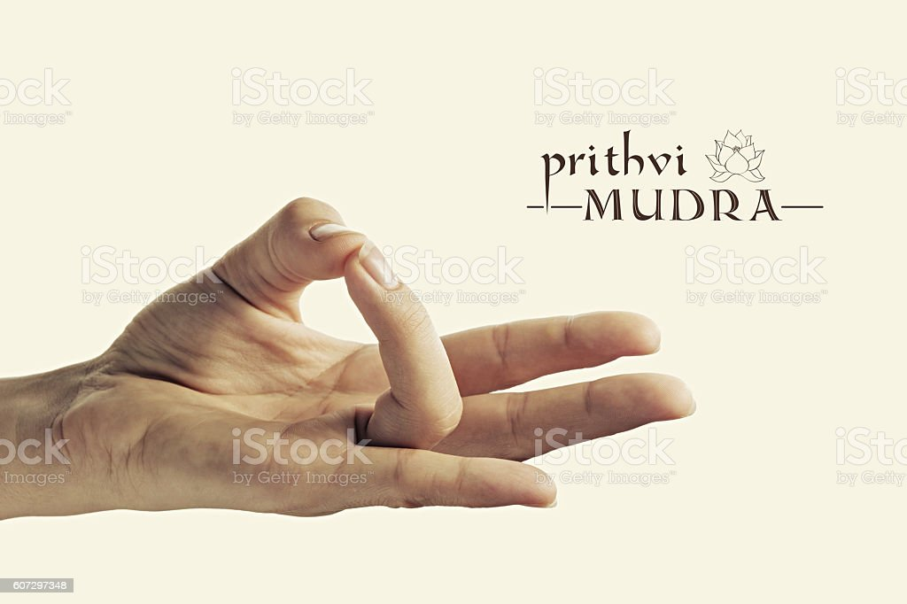 Prithvi mudra color stock photo