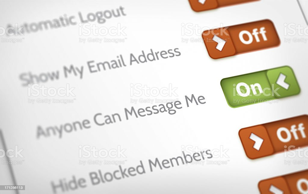 Privacy and Account Settings stock photo