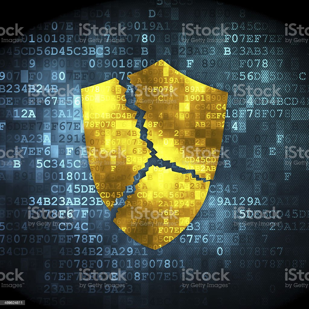 Privacy concept: Broken Shield on digital background stock photo