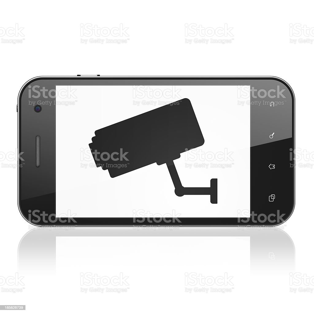 Privacy concept: Cctv Camera on smartphone royalty-free stock photo