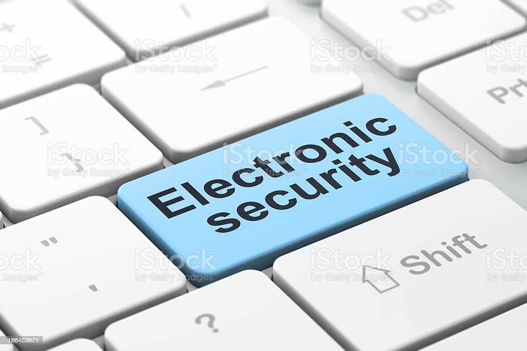 Privacy concept: Electronic Security on computer keyboard backgr royalty-free stock photo
