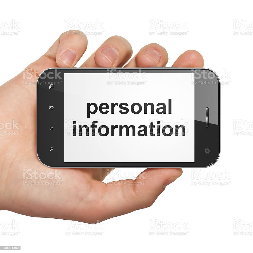 Privacy concept: Personal Information on smartphone royalty-free stock photo