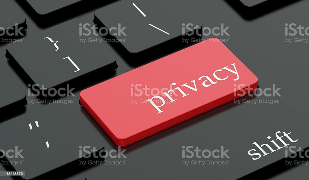 Privacy concept, red hot key on  keyboard vector art illustration