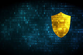 Privacy concept: Shield on digital background