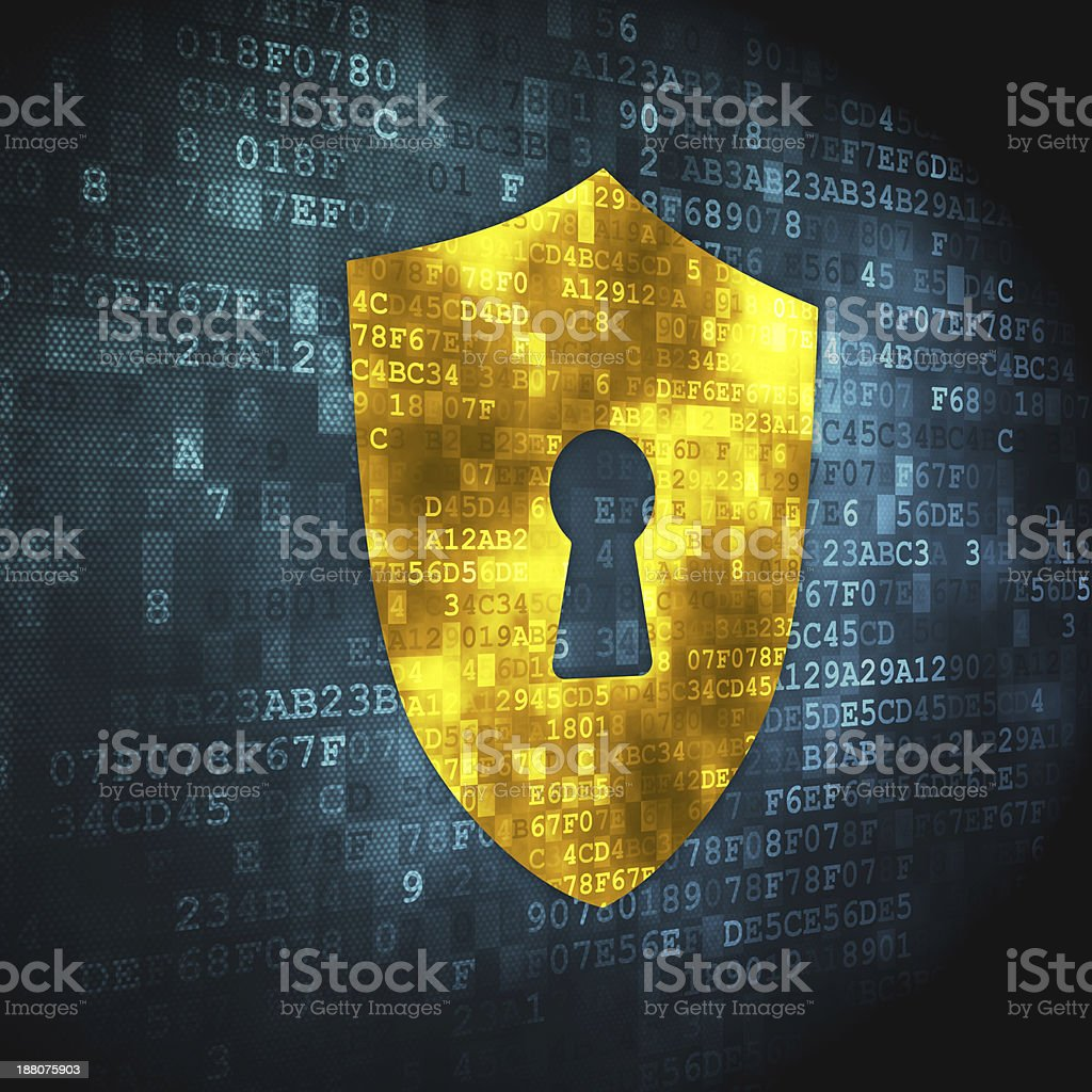 Privacy concept: Shield With Keyhole on digital background stock photo
