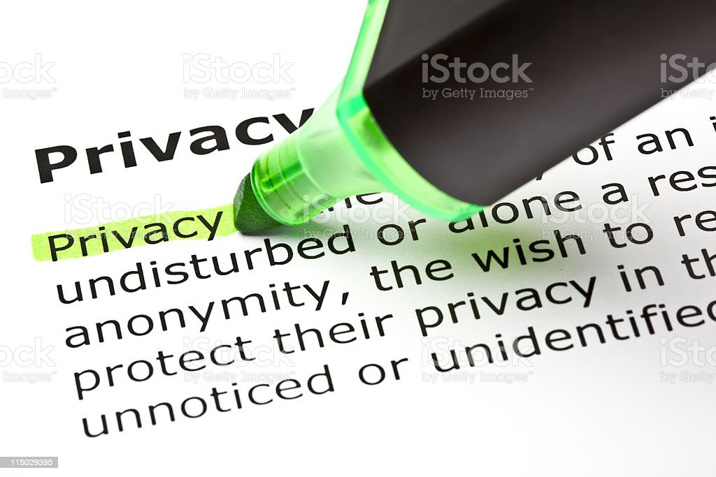 Privacy highlighted in green stock photo