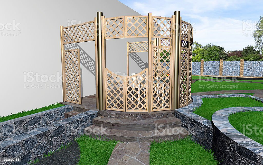Privacy landscaping in the outdoor, 3d rendering stock photo