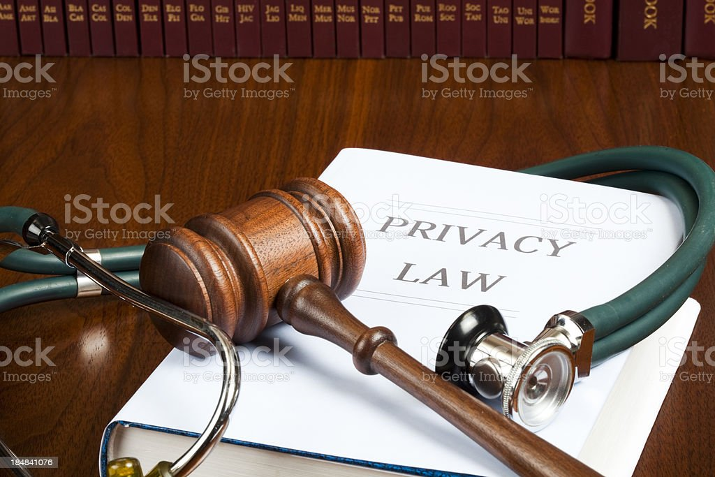 Privacy law stethoscope and gavel royalty-free stock photo
