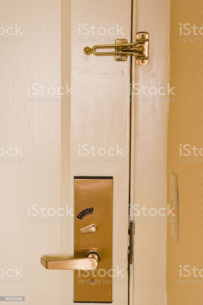 \'Hotel room door with latch and privacy lock, San Francisco,...