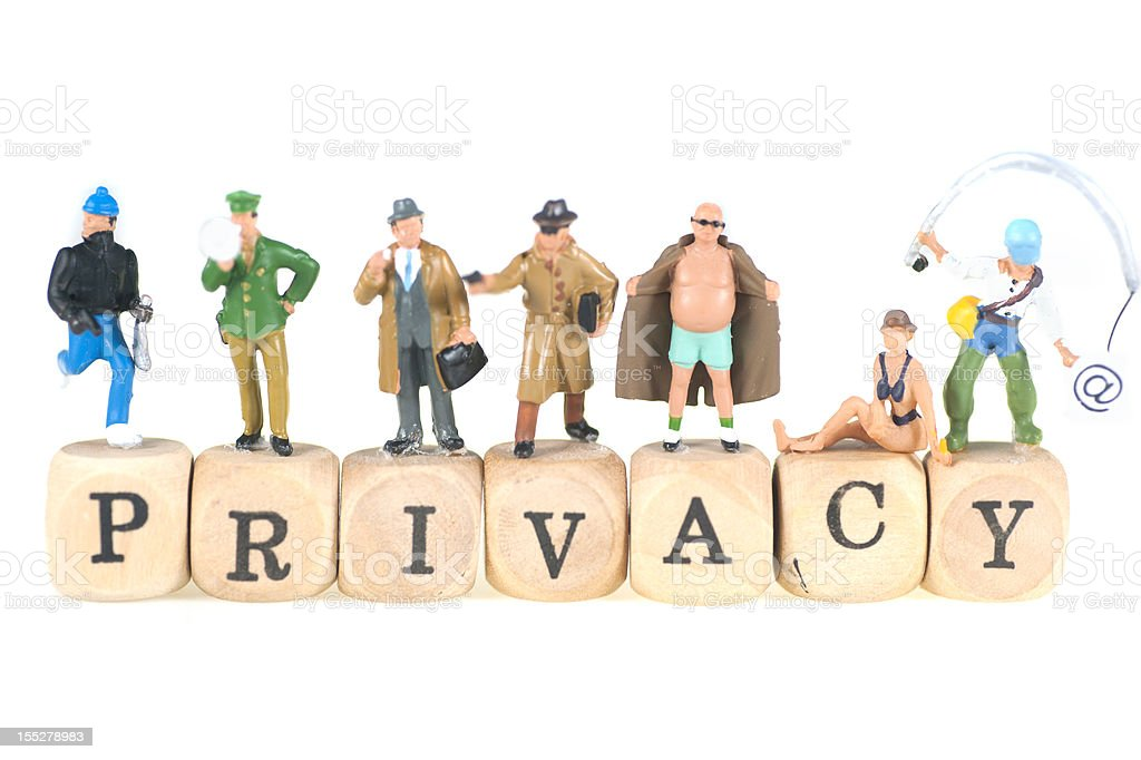 privacy word with figurines stock photo