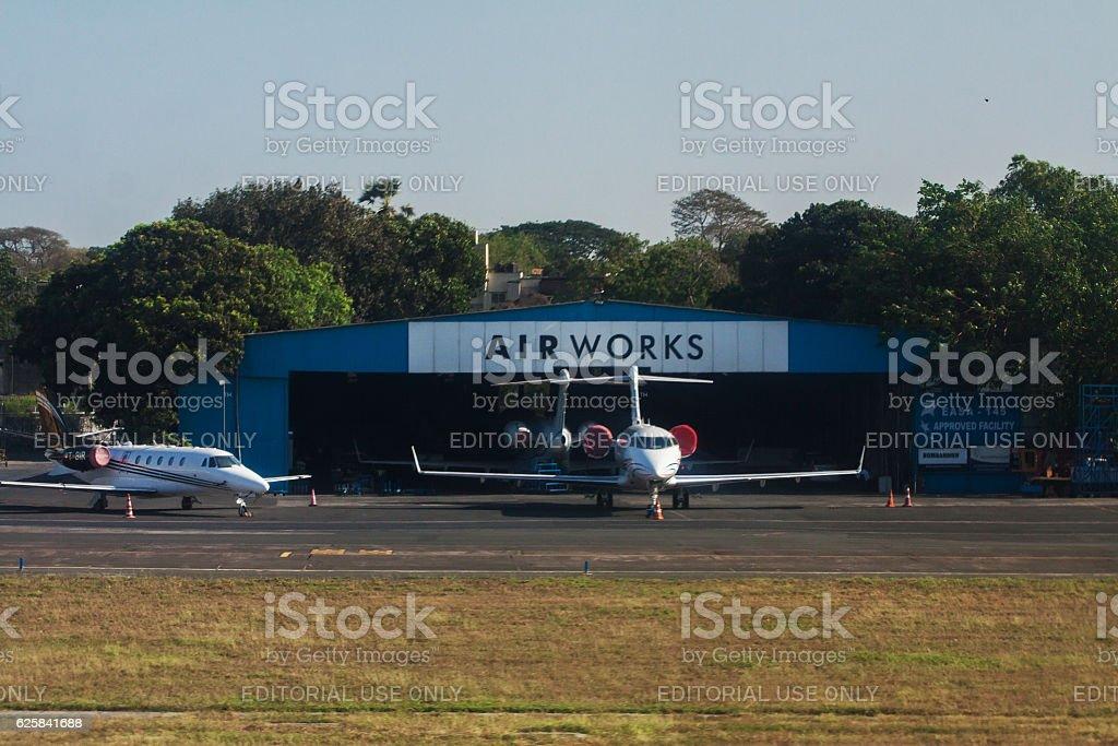 Privat jet hangar stock photo
