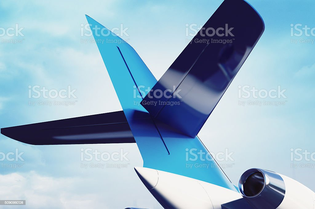 private aircraft jet engine with a part of a wing stock photo