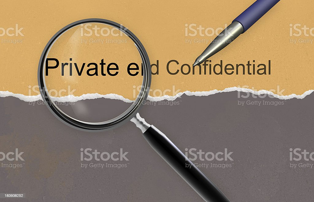 Private and confidential stock photo
