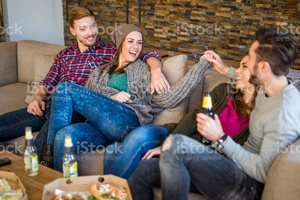 Private apartment party stock photo