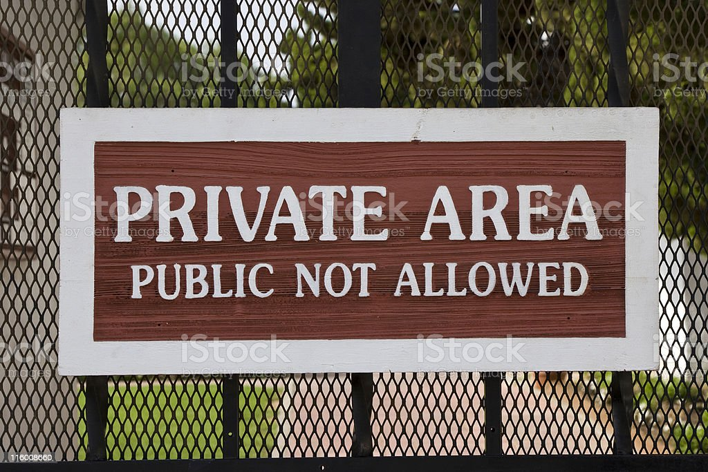 Private Area Sign, Warning, Gate, Entrance Prohibited, Keep Out royalty-free stock photo