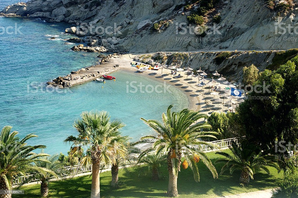 Private beach in a tropical inlet stock photo