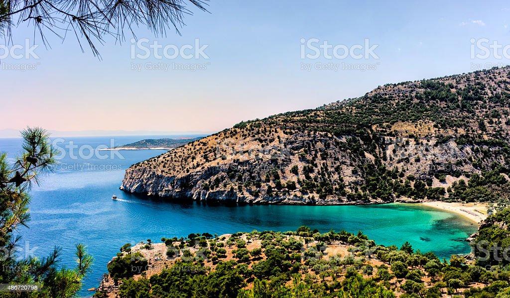 Private beach on isle of Thassos stock photo