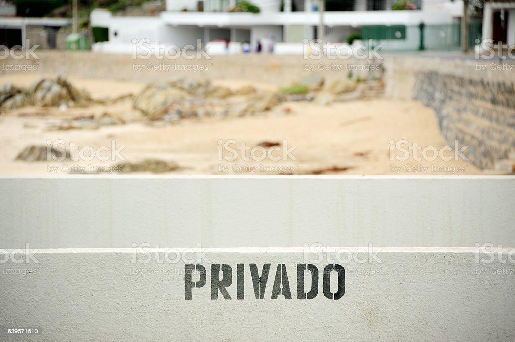 Private beach sign stock photo