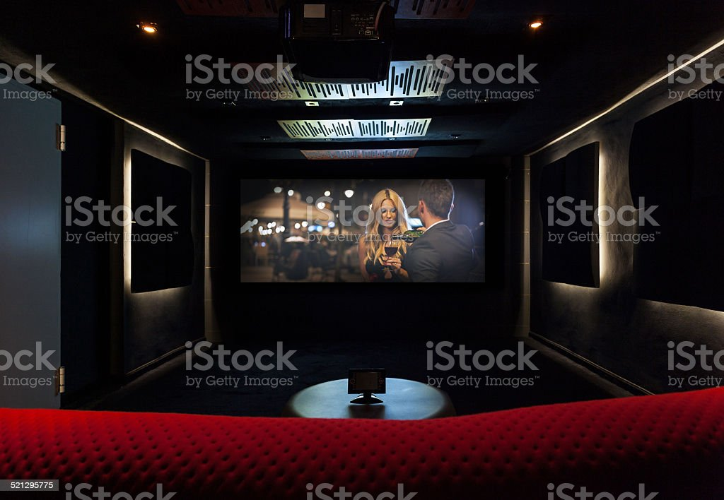 Private cinema at modern house stock photo