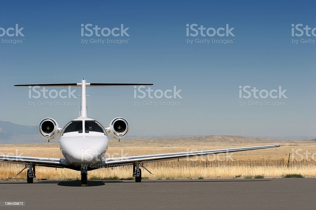 private corporate jet stock photo