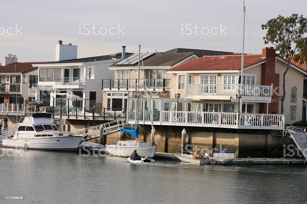 Private Dock Boat Homes in California stock photo