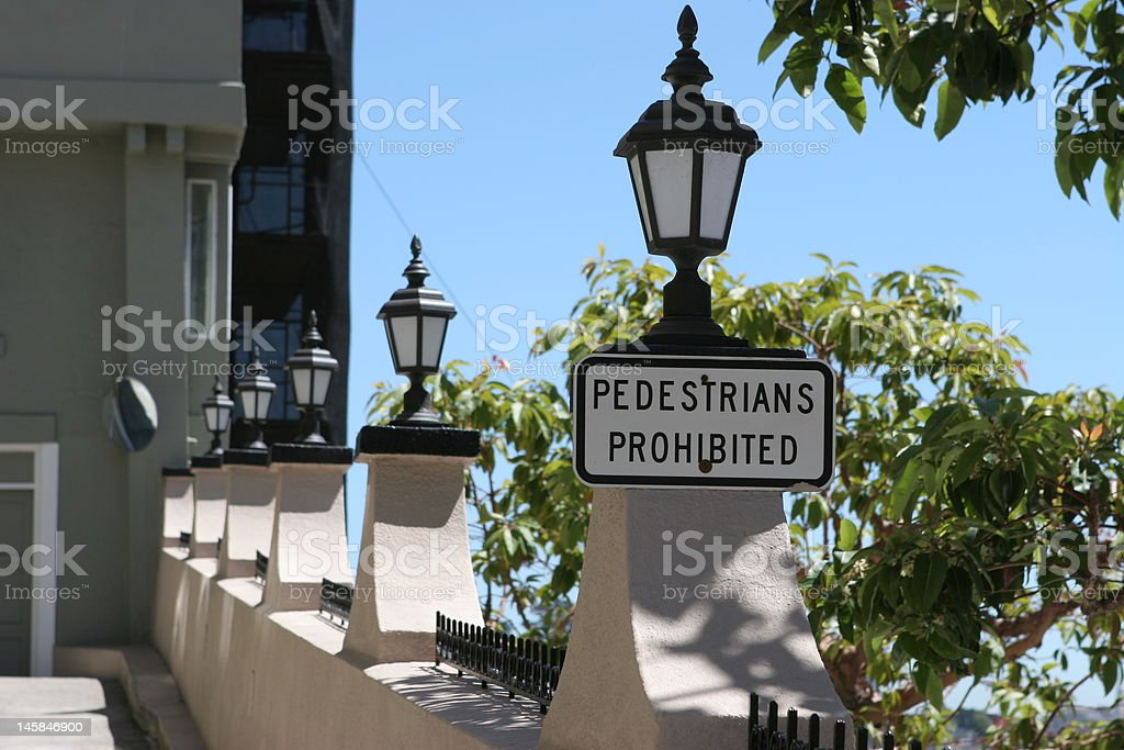 Private driveway with Pedestrians Prohibited sign stock photo