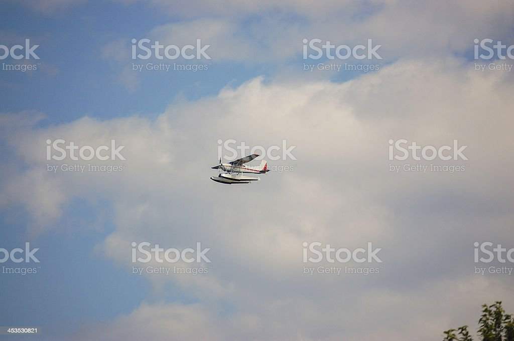 Private Float Plane on Departure in Alaska stock photo