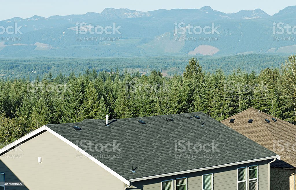 Private forest land beyond homes in suburban housing development royalty-free stock photo