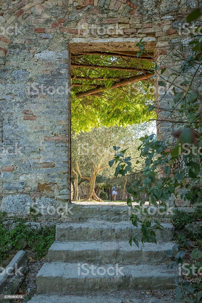 Private garden access, Tuscany, Italy stock photo
