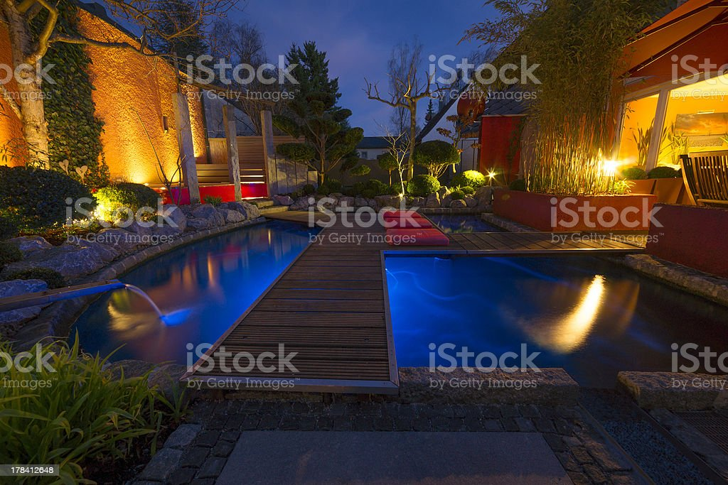 Private Garden at Night stock photo