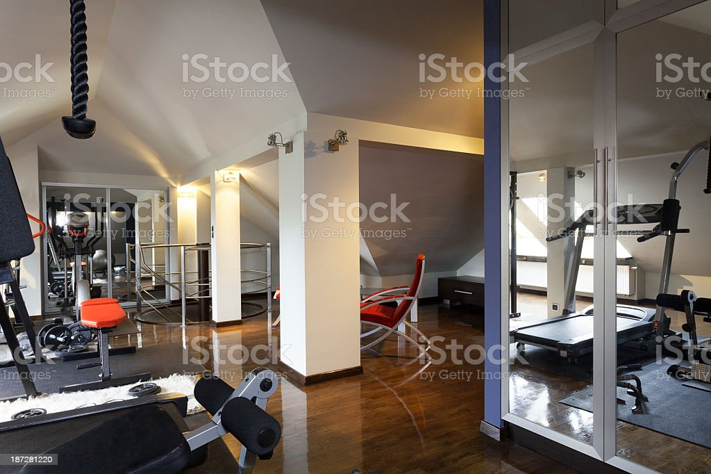Private gym in a home stock photo