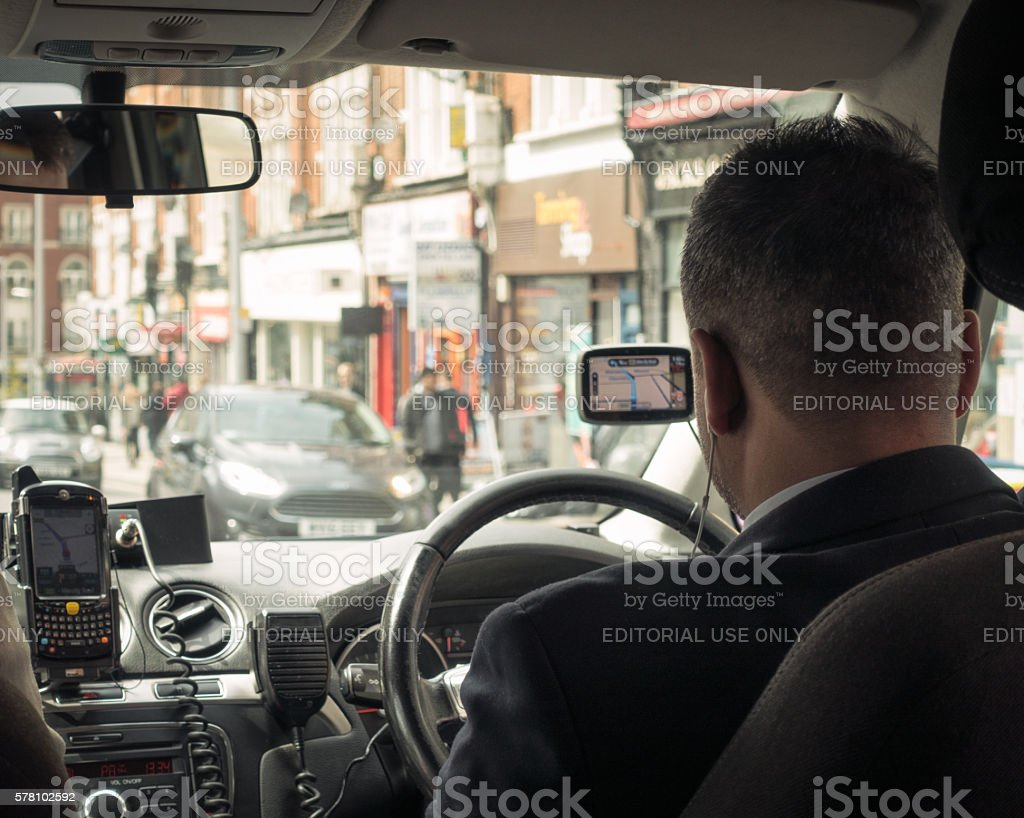 Private hire taxi journey in London stock photo