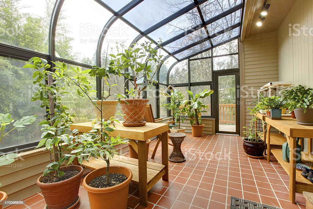 Private home green house, sun room stock photo