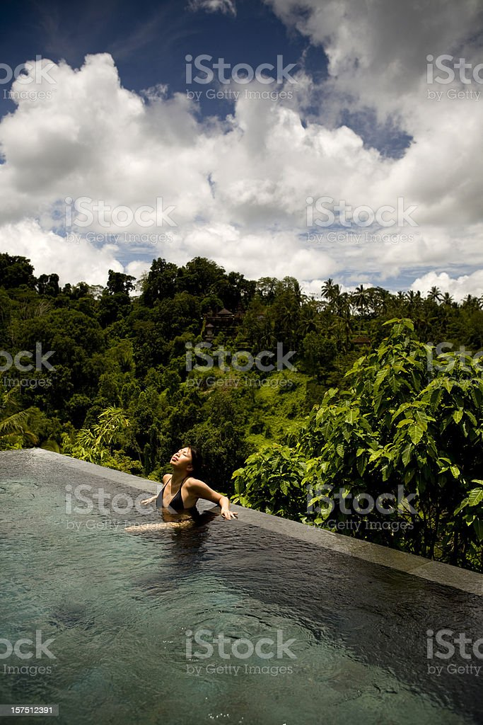 Private Infinity Pool in Ubud Bali royalty-free stock photo
