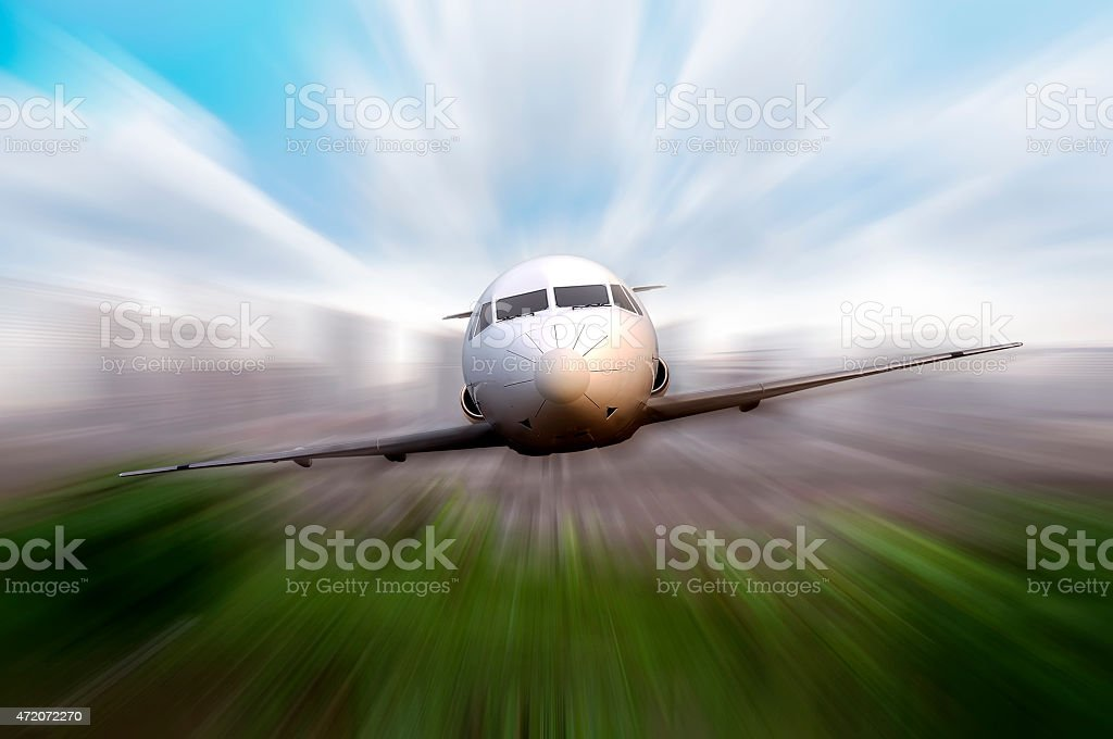 Private Jet Flying stock photo