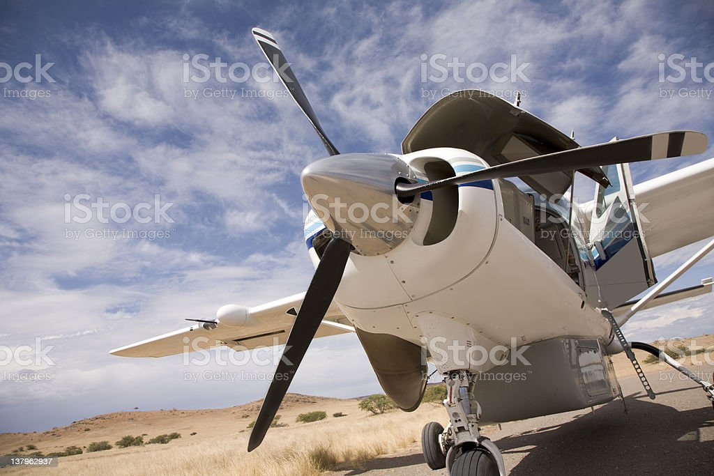 Private jet on land royalty-free stock photo