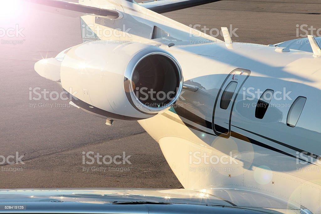 private jet on tarmac stock photo